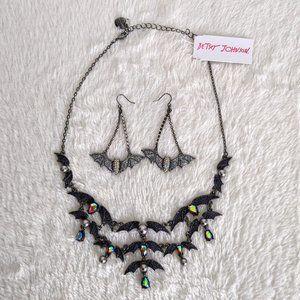 NWT Betsey Johnson Black Bat Set Earrings Necklace